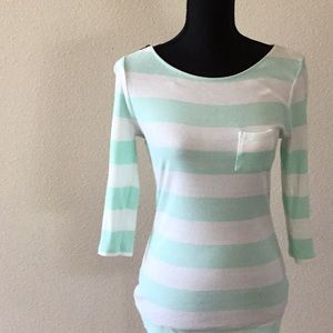 Express 3/4 Length mint and white striped shirt